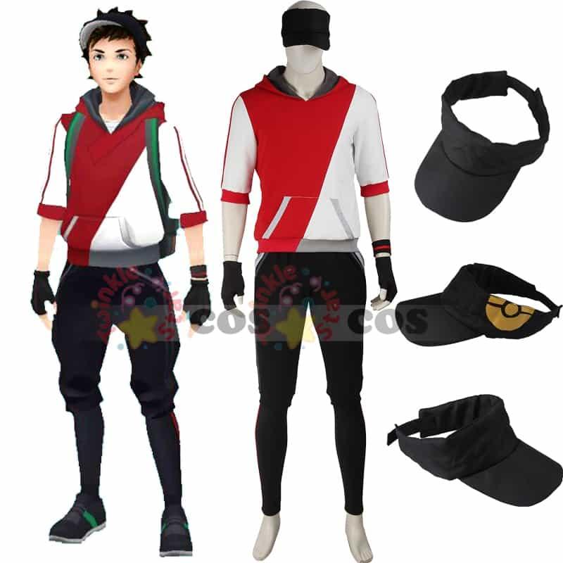 Costume Halloween Man.Pokemon Go Cosplay Costume Halloween Costumes For Adult Men Game Pokemon Go Men Trainer Suit With Hat Red Hoodie Shirt