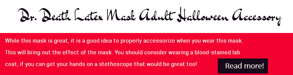 Dr. Death Latex Mask Adult Halloween Accessory